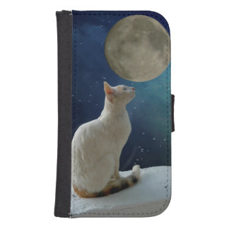 Coque Avec Portefeuille Pour Galaxy S4 Chat et lune