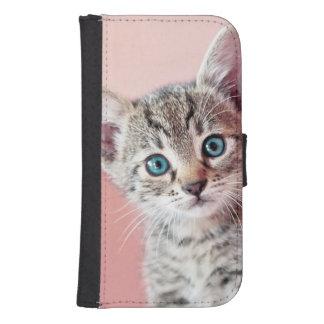 Coque Avec Portefeuille Pour Galaxy S4 Chaton mignon avec les yeux bleus