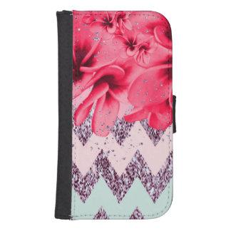Coque Avec Portefeuille Pour Galaxy S4 Chevron fleurit II