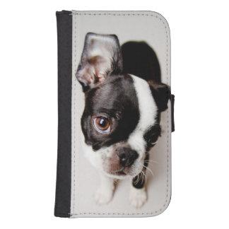 Coque Avec Portefeuille Pour Galaxy S4 Chiot d'Edison Boston Terrier
