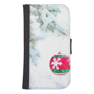 Coque Avec Portefeuille Pour Galaxy S4 Classique blanc de neige d'ornement rouge de Noël
