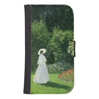 Coque Avec Portefeuille Pour Galaxy S4 Claude Monet | Jeanne Marie Lecadre dans le jardin