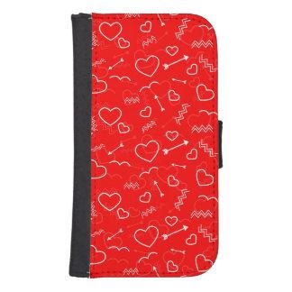 Coque Avec Portefeuille Pour Galaxy S4 Coeur et flèche blancs rouges d'amour de