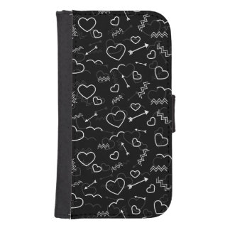 Coque Avec Portefeuille Pour Galaxy S4 Coeur et flèche noirs et blancs d'amour de