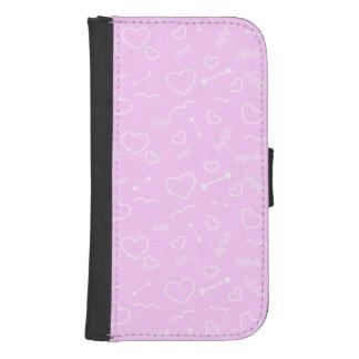 Coque Avec Portefeuille Pour Galaxy S4 Coeur et flèche roses et blancs d'amour de