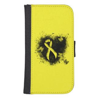 Coque Avec Portefeuille Pour Galaxy S4 Coeur jaune de grunge de ruban
