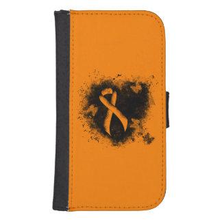 Coque Avec Portefeuille Pour Galaxy S4 Coeur orange de grunge de ruban