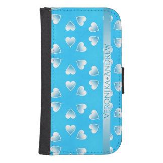 Coque Avec Portefeuille Pour Galaxy S4 Coeurs bleus assez petits. Ajoutez votre propre
