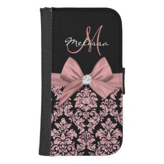 Coque Avec Portefeuille Pour Galaxy S4 Damassé rose de noir de parties scintillantes