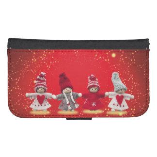 Coque Avec Portefeuille Pour Galaxy S4 Décorations de Noël sur un arrière - plan rouge