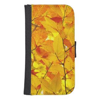 Coque Avec Portefeuille Pour Galaxy S4 Été indien de la Saint-Martin, feuille jaune