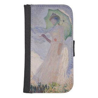 Coque Avec Portefeuille Pour Galaxy S4 Femme de Claude Monet | avec le parasol tourné