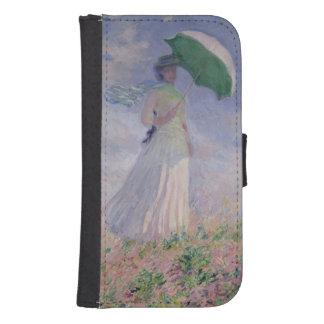 Coque Avec Portefeuille Pour Galaxy S4 Femme de Claude Monet | avec un parasol tourné à