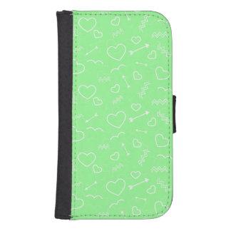 Coque Avec Portefeuille Pour Galaxy S4 Flèche verte et blanche en bon état de coeur