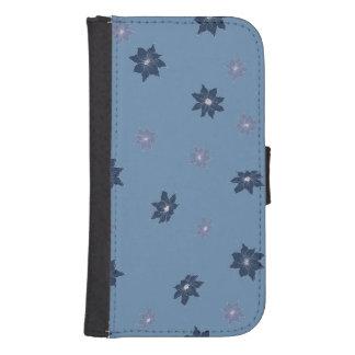 Coque Avec Portefeuille Pour Galaxy S4 Fleurs bleues et pourpres