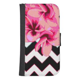 Coque Avec Portefeuille Pour Galaxy S4 Fleurs de Chevron