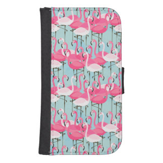 Coque Avec Portefeuille Pour Galaxy S4 Foule rose et blanche des flamants