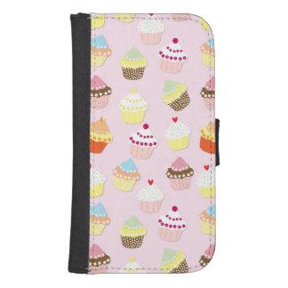 Coque Avec Portefeuille Pour Galaxy S4 Gâteaux de tasse de Valentines de roses pâles