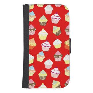 Coque Avec Portefeuille Pour Galaxy S4 Gâteaux rouge foncé de tasse de Valentines