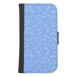 Coque Avec Portefeuille Pour Galaxy S4 Griffonnages bleu-clair de coeur et de flèche