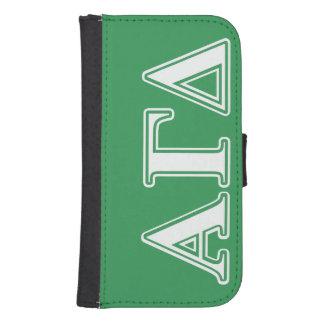 Coque Avec Portefeuille Pour Galaxy S4 Lettres blanches et vertes d'alpha delta gamma