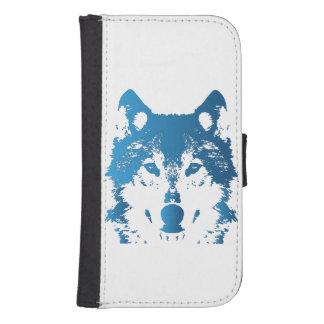 Coque Avec Portefeuille Pour Galaxy S4 Loup de bleu glacier d'illustration