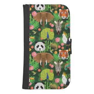 Coque Avec Portefeuille Pour Galaxy S4 Mélange animal tropical