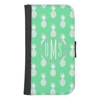 Coque Avec Portefeuille Pour Galaxy S4 Monogramme du motif | de menthe d'ananas