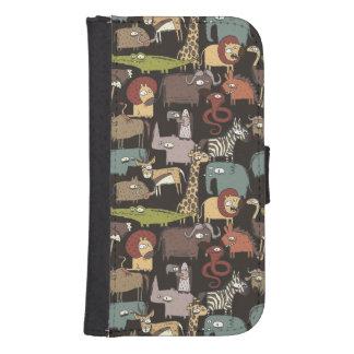 Coque Avec Portefeuille Pour Galaxy S4 Motif africain d'animaux