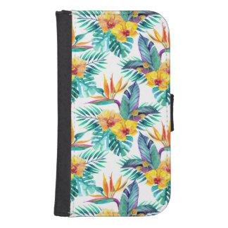 Coque Avec Portefeuille Pour Galaxy S4 Oiseau du paradis et du motif d'orchidée