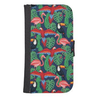 Coque Avec Portefeuille Pour Galaxy S4 Oiseaux tropicaux dans des couleurs lumineuses