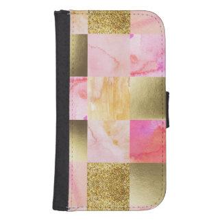 Coque Avec Portefeuille Pour Galaxy S4 or, pastels, couleurs d'eau, carrés, collage,