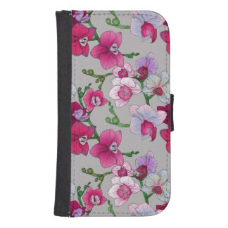 Coque Avec Portefeuille Pour Galaxy S4 Orchidées roses en fleur
