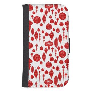 Coque Avec Portefeuille Pour Galaxy S4 Ornements rouges vintages de Noël sur le blanc