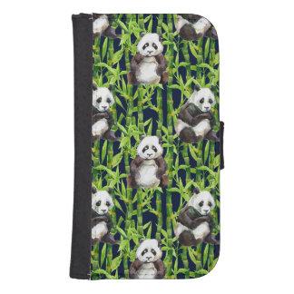 Coque Avec Portefeuille Pour Galaxy S4 Panda avec le motif en bambou d'aquarelle
