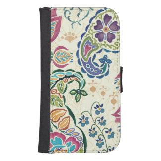 Coque Avec Portefeuille Pour Galaxy S4 Paon décoratif et fleurs colorées
