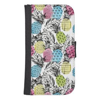 Coque Avec Portefeuille Pour Galaxy S4 Paumes de grunge d'ananas
