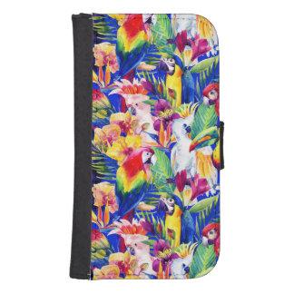 Coque Avec Portefeuille Pour Galaxy S4 Perroquets d'aquarelle