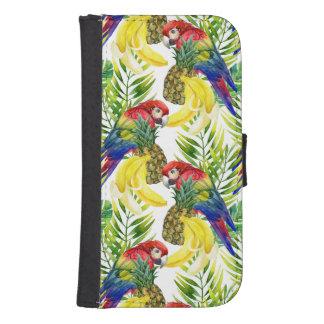 Coque Avec Portefeuille Pour Galaxy S4 Perroquets et fruit tropical