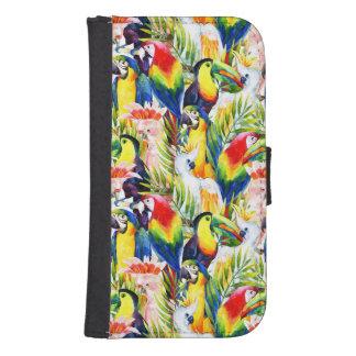 Coque Avec Portefeuille Pour Galaxy S4 Perroquets et palmettes