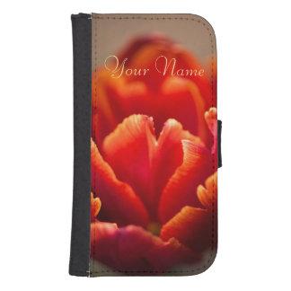 Coque Avec Portefeuille Pour Galaxy S4 Pétales assez rouges de tulipe. Ajoutez votre nom
