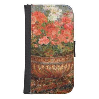 Coque Avec Portefeuille Pour Galaxy S4 Pierre géraniums de Renoir un | dans un bassin de