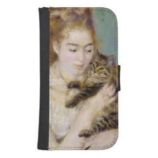 Coque Avec Portefeuille Pour Galaxy S4 Pierre une femme de Renoir | avec un chat