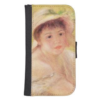 Coque Avec Portefeuille Pour Galaxy S4 Pierre une femme de Renoir | dans un chapeau de