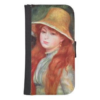 Coque Avec Portefeuille Pour Galaxy S4 Pierre une jeune fille de Renoir   dans un chapeau