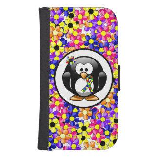 Coque Avec Portefeuille Pour Galaxy S4 Pingouin de ruban de puzzle
