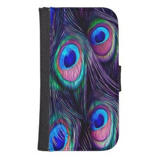 Coque Avec Portefeuille Pour Galaxy S4 Plume de paon
