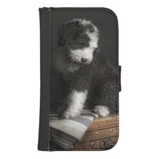 Coque Avec Portefeuille Pour Galaxy S4 Portrait de chiot de queue écourtée dans le studio