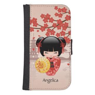 Coque Avec Portefeuille Pour Galaxy S4 Poupée rouge de Sakura Kokeshi - geisha japonais