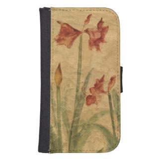 Coque Avec Portefeuille Pour Galaxy S4 Rangée d'amaryllis rouge